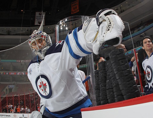 Is Ondrej Pavelec holding the Winnipeg Jets back? (Photo by Bruce Bennett/Getty Images)