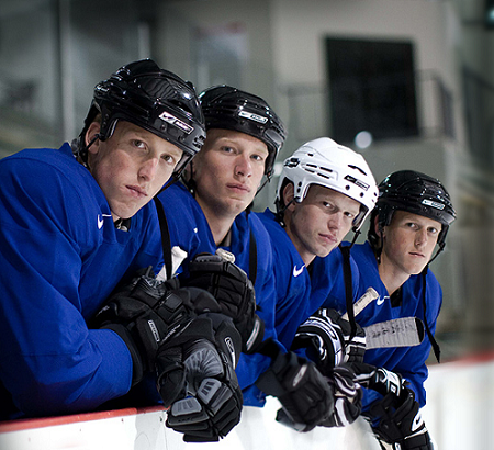 Left to Right: Marc, Jordan, Eric and Jared share the same bench while also sharing the famous Staal name. (Photo by Dave, Blue Seat Blogs)
