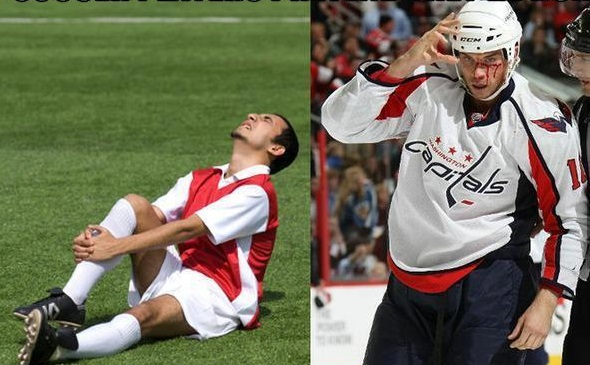 """Soccer Players Pretend They're Hurt. Hockey Players Pretend They're Not"" - Meme"